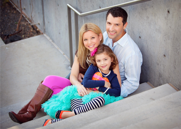 Amy Marcius with her husband and daughter.