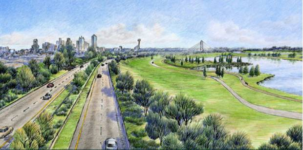 Let's just say that this rendering of the Trinity Tollway is never, ever going to happen. It's going to be bigger, uglier, and it's going to need more elevated feeders. One of those, the Jefferson Memorial , might completely cut off West Dallas from North Oak Cliff.
