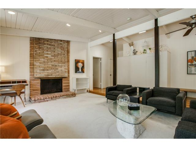 One of two brick fireplaces in this home.