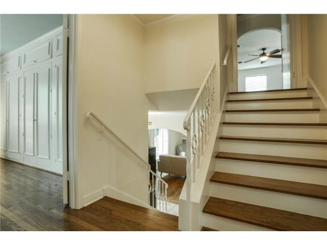 Stairwell showcasing the split levels.  The main living/kitchen/