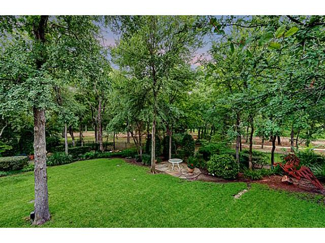 large back yard with view of park in back