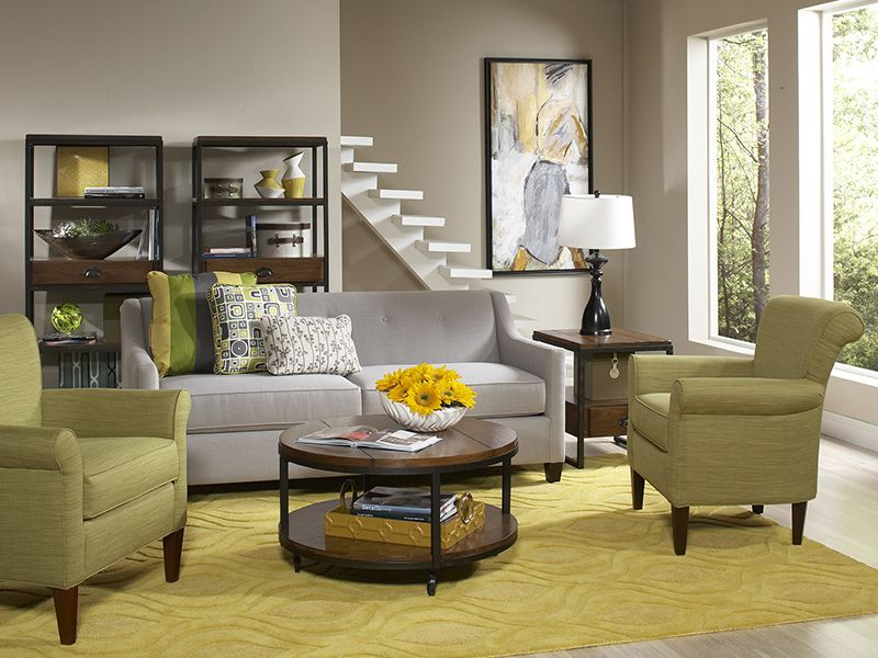 Greyson sofa with Clover chairs courtesy of Cort Furniture Rental