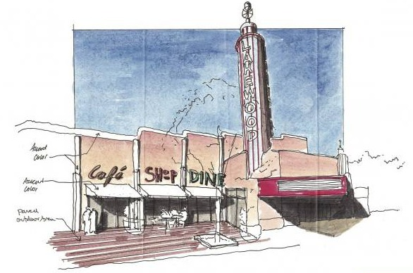 This rendering by architectural firm Good Fulton & Farrell shows a possible new look for the Lakewood Theater. Photo: courtesy of D Magazine.