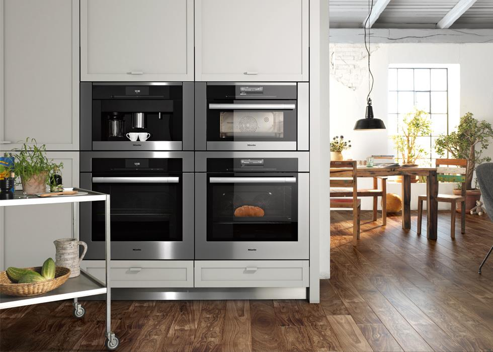 Miele's Generation 6000 built-in appliances with Contour Line fronts in a square configuration. (Photo: Miele)