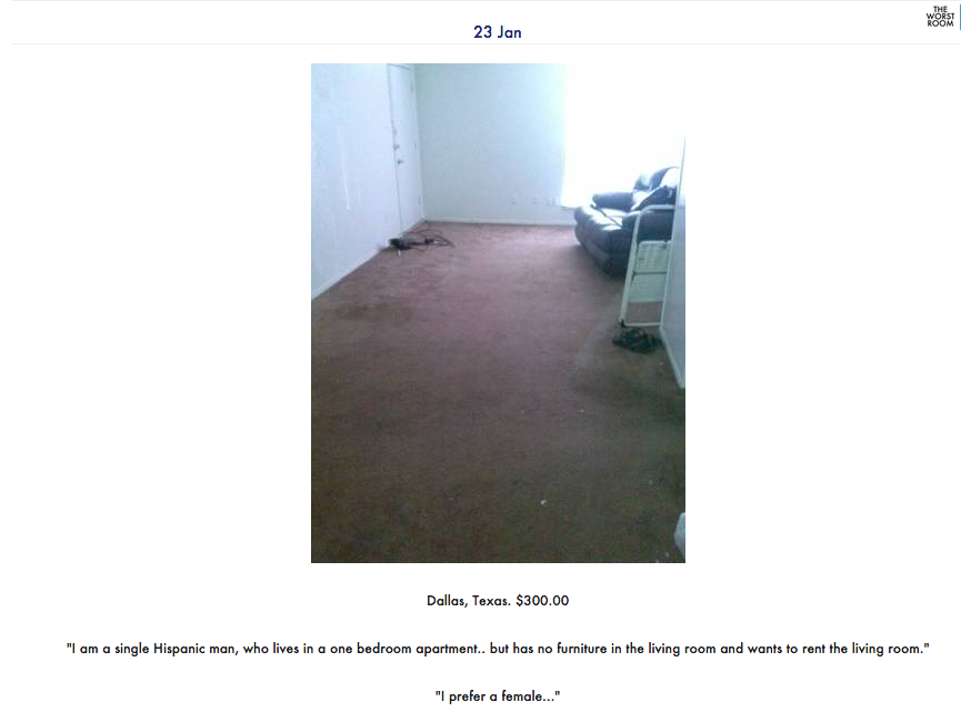 """The Worst Room"" is a hilarious and depressing Tumblr blog focusing on the sad state of rentals in New York and beyond. This listing, via Dallas Craigslist, is especially sad."