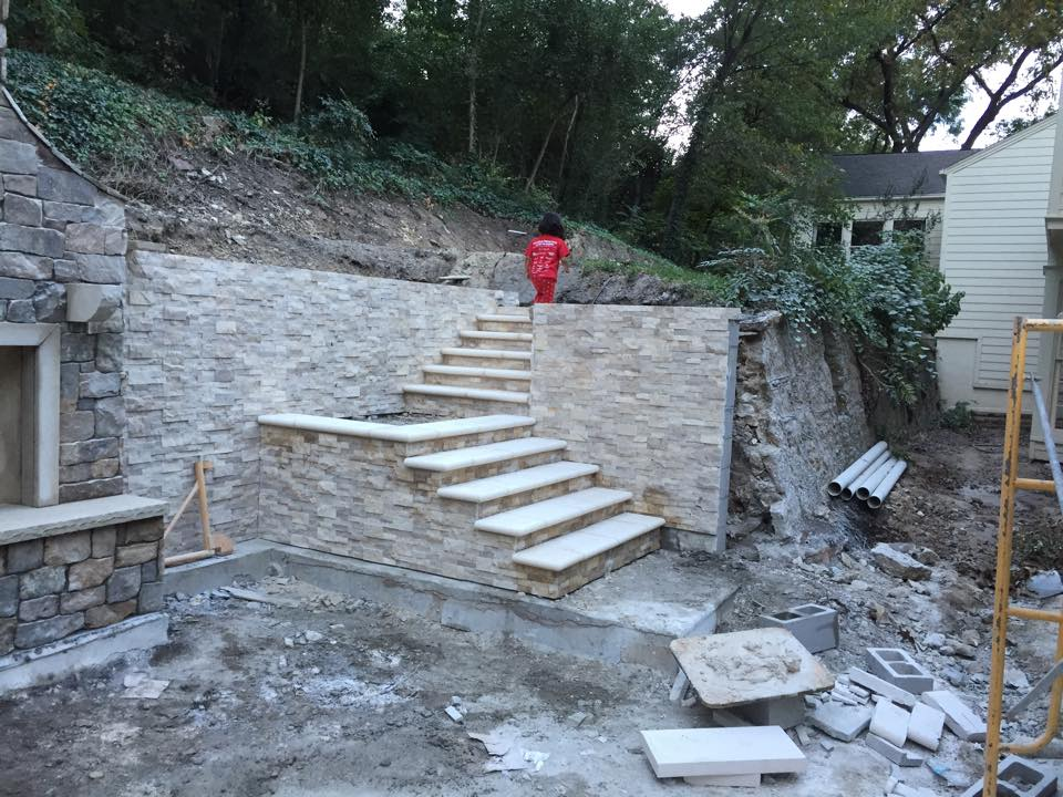The original retaining walls, built in the 1930s, will be incorporated into the pool and garden's design.