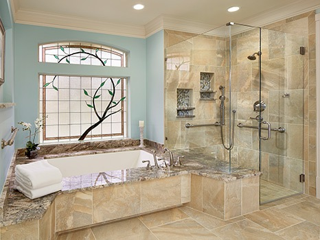 Curbless shower master bath Graf Developments