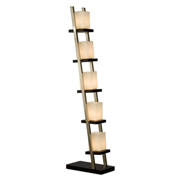 Nova Escalier 5 Light Floor Lamp with Frosted Glass Shades in Dark Brown and Brushed Nickel