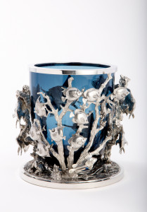 pewter and glass votive