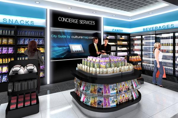 CultureMap will take over Hudson News kiosks in both Houston Airports. (Rendering: CultureMap/The Dallas Busines Journal)