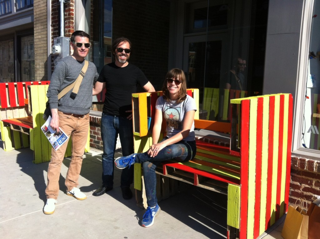 Mike Lydon, Tony & Julie of the Street Plans Collaborative after their workshop building these benches from pallets.