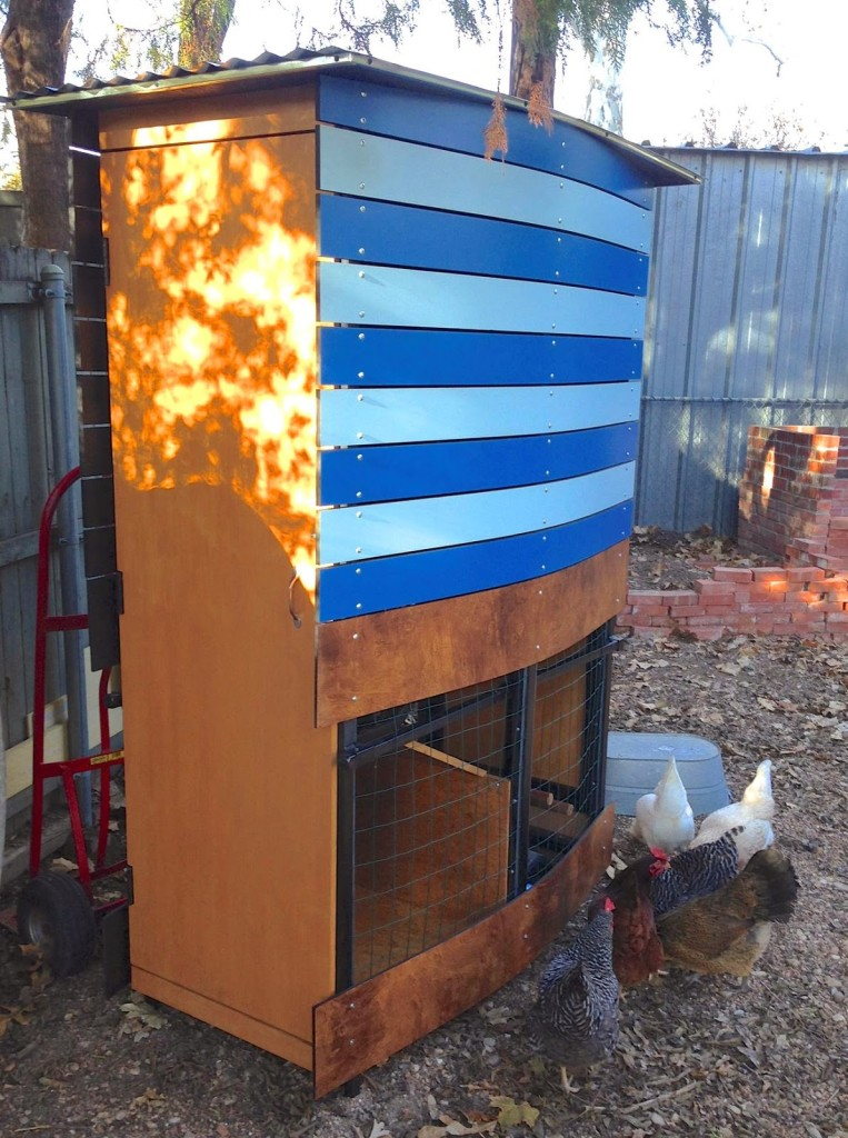 This modern, mobile chicken coop will be raffled off to benefit Stonewall Gardens.