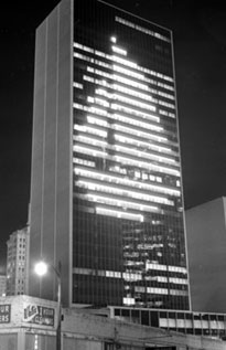 LTV Tower at 1600 Pacific lit at night, circa 1966. (Photo: Dallas Times Herald archives at the Dallas Public Library)