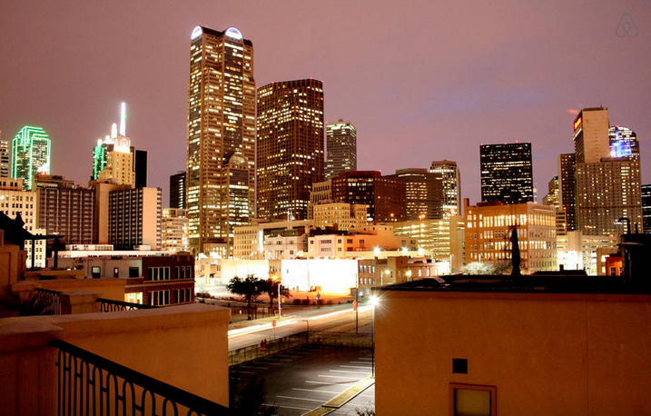 One of the current listing on Airbnb in downtown Dallas offers this nighttime view. Photo: Airbnb