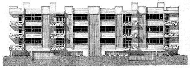 Drawing of Preston Place from Northwest Highway, Circa 1973
