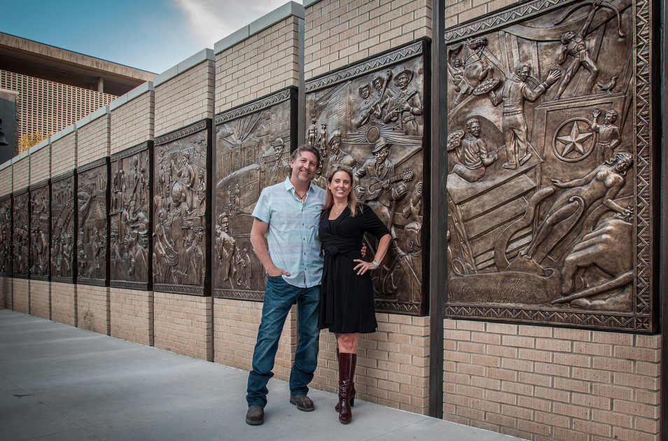Artists Brad Oldham and Christy Coltrin, creators of the sculpture wall at Encore Park. Photo: Kim Leeson