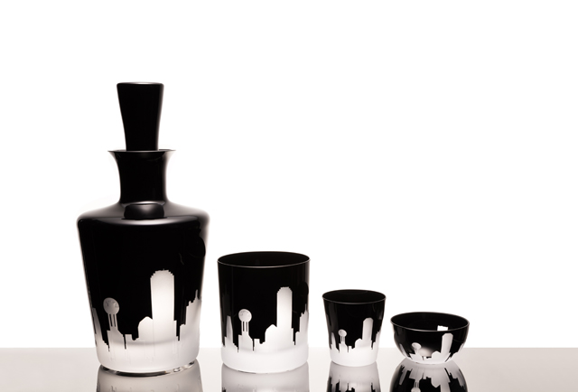 Bernadette Schaeffler designed a Czech crystal series featuring a silhouette of the Dallas Skyline.