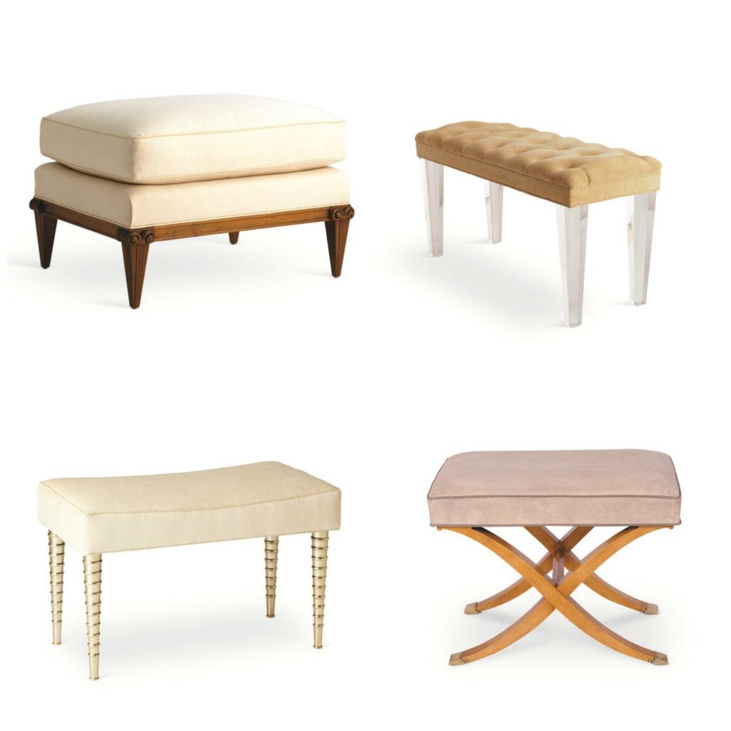Benches from Jan Showers' collection, clockwise from upper left: Carleton ottoman, Mercer bench, Jan's bench, and Claudette Bench.
