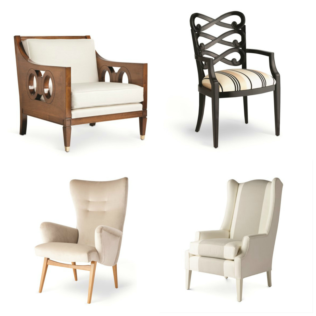 Chairs from the Jan Showers Collection, clockwise from upper left: Bradshaw chair, Loop host and hostess dining chair, Milan wing chair, and Waverly wing chair.
