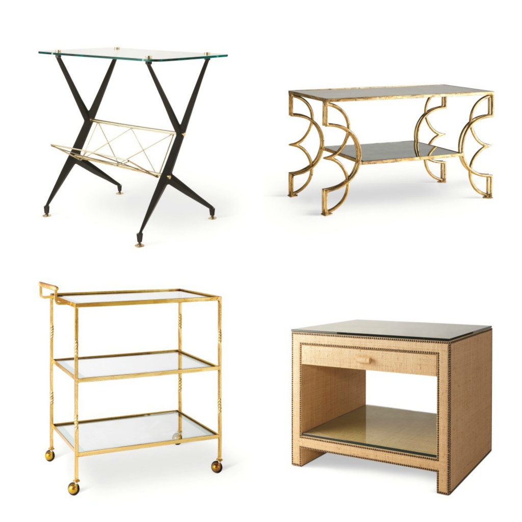 Tables from the Jan Showers Collection, clockwise from upper left: Milan magazine table, Sabine coffee table, Leland drinks cart, and Manhattan side table with drawer.