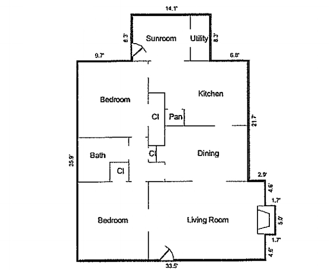 A floorplan sketch for 2606 Marvin Ave. in North Oak Cliff's Kessler Plaza.