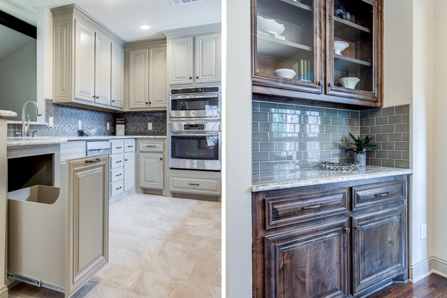 split image of the built in garbage/recycling cabinet with the built in server storage in the same house.  If a kitchen has updated features like that why not show a close up of this type of detail?