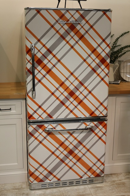 The Big Chill custom designed plaid fridge (Photo: Lisa Stewart Photography)