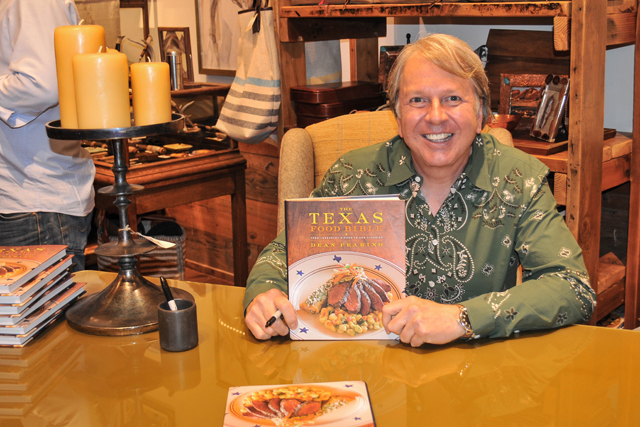 "Dean Fearing signed copies of his ""Texas Food Bible"" at Anteks Curated during the Park Cities Quail reception."