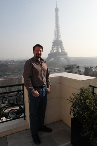 Author on Shangri-La Paris terrace