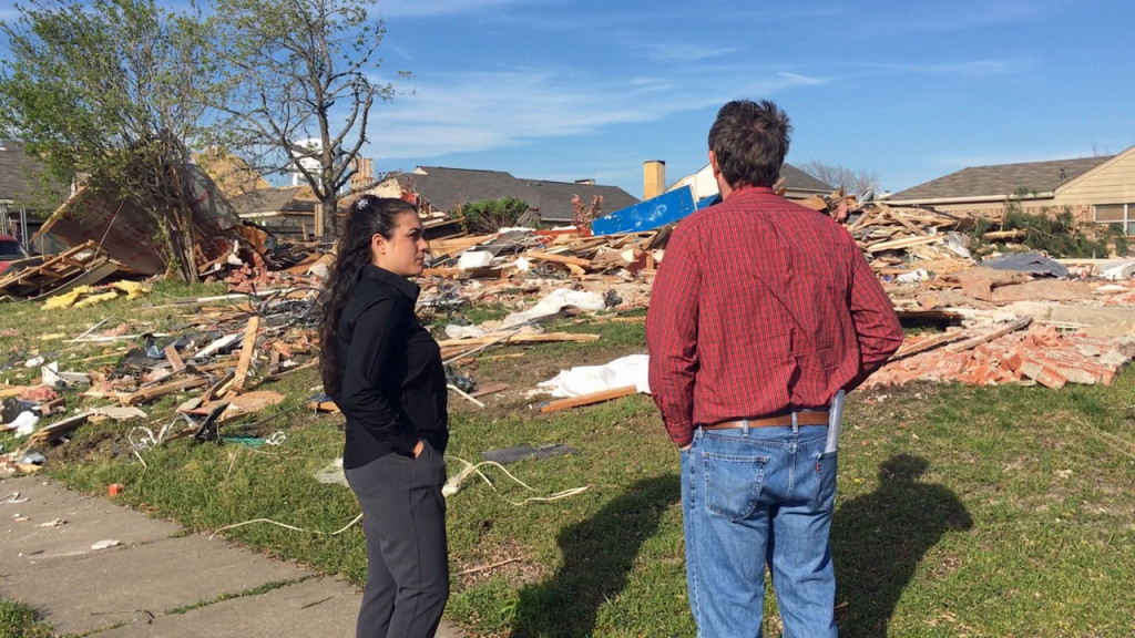 Lindsey Diaz was planning to come back to her tornado-damaged home in Rowlett, but that's not possible after a company mistakenly demolished it (Photo: David Goins/WFAA)