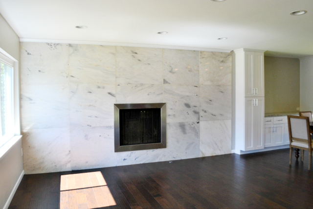 Draper Construction's newest project at 4069 Park Lane boasts an original wall of marble in the living room, as well as beautiful finishes throughout.