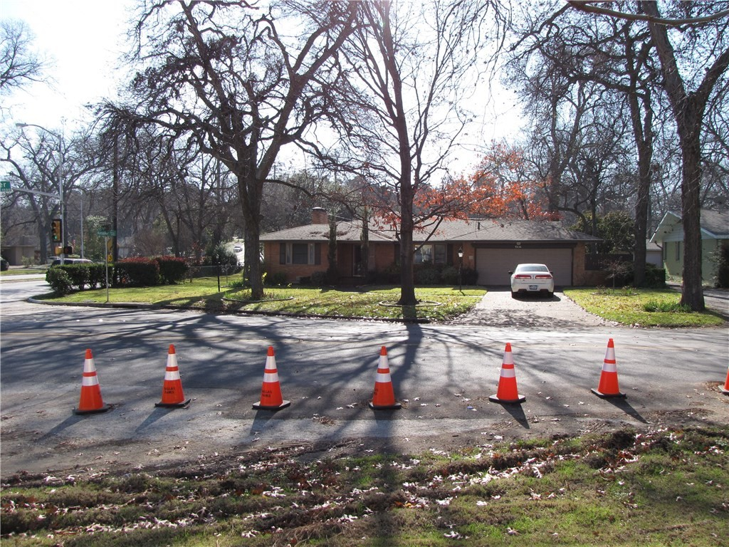 House with traffic cones in front!
