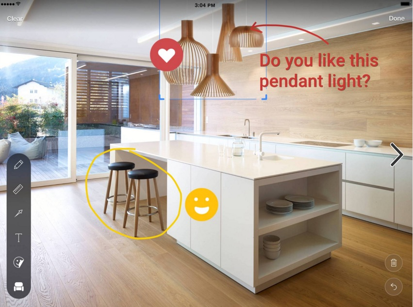 Houzz Sketch makes it possible to add notes and products to images. Photo: Houzz.com