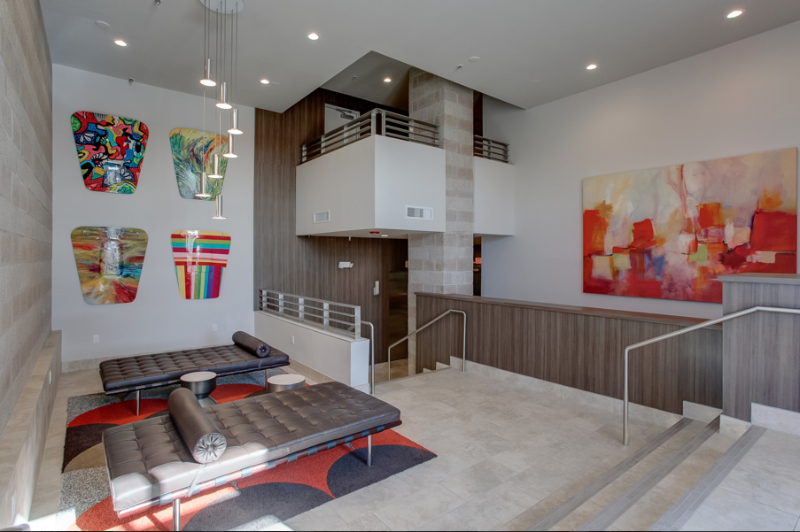 The lobby of The Shelby Residences in Dallas.
