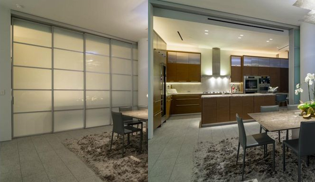 Azure home that transforms from open to closed kitchen/dining depending on the need
