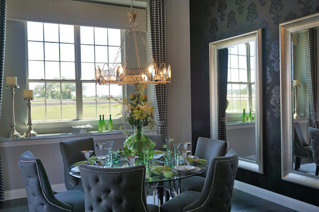 Orchard flower luxury dreams custom made for the new for Model home dining room