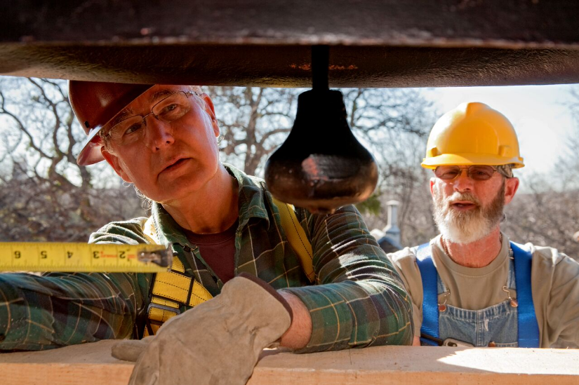 Ronald Siebler, left, working on the
