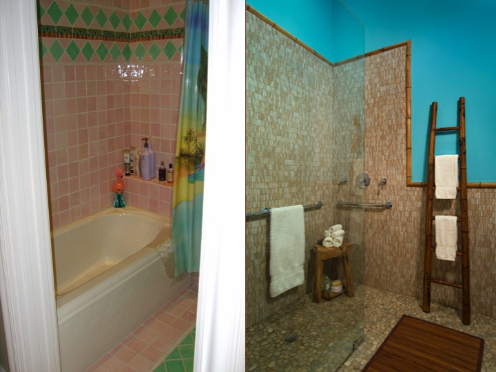 Left: This outdated shower/tub unit was rarely used and presented a fall hazard. Right: Bruce Graf updated the bathroom with trendy tile and frameless glass, which is now wheelchair accessible. (Photo: Graf Developments)