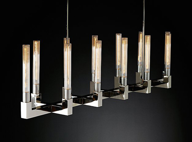 RH Modern: Jonathan Browning Chandelier $3,695 cribbed from Browning trade-only model at ~$15,000.