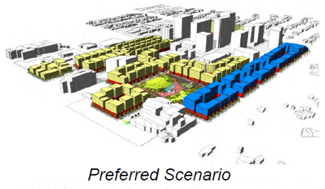Preston Center's distant future? (Blue = residential, yellow = office, red = retail/restaurant)