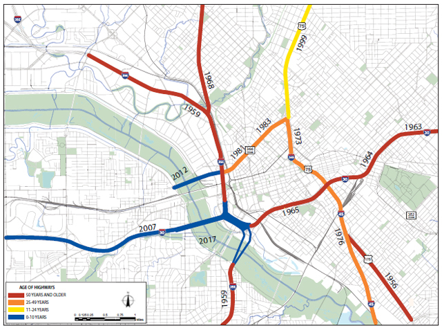 The average age of the interstate corridors in the CityMAP study area is over 40 years.