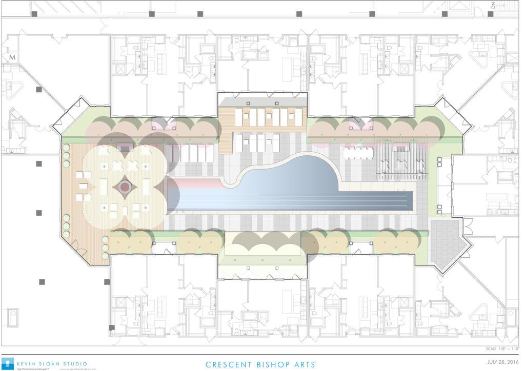 Crescent Bishop Arts Pool Deck Rendering