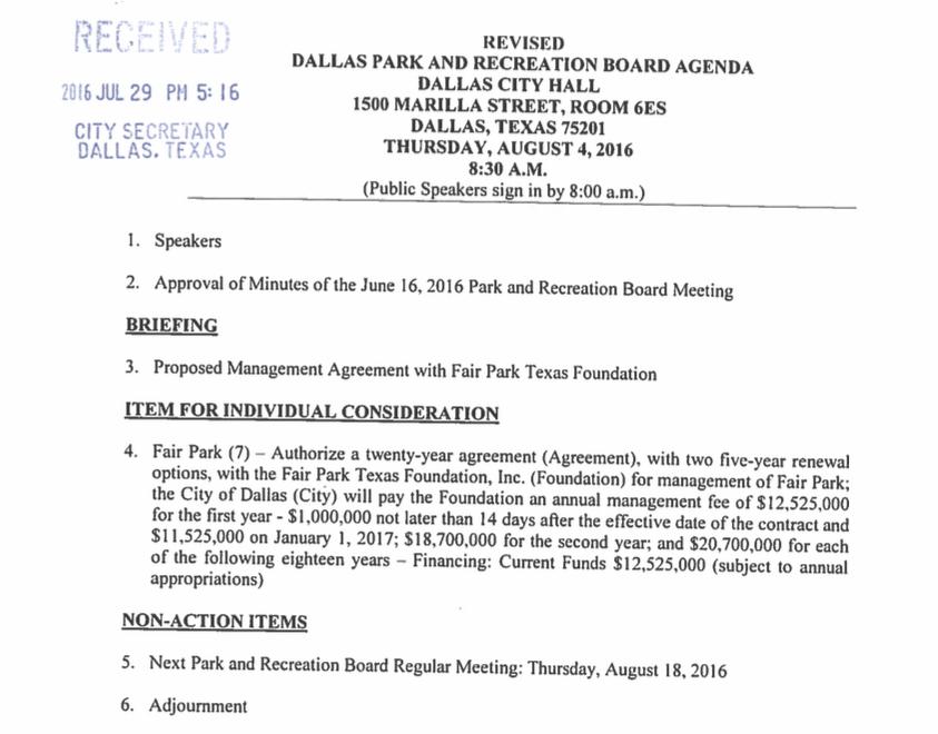Park Board Agenda