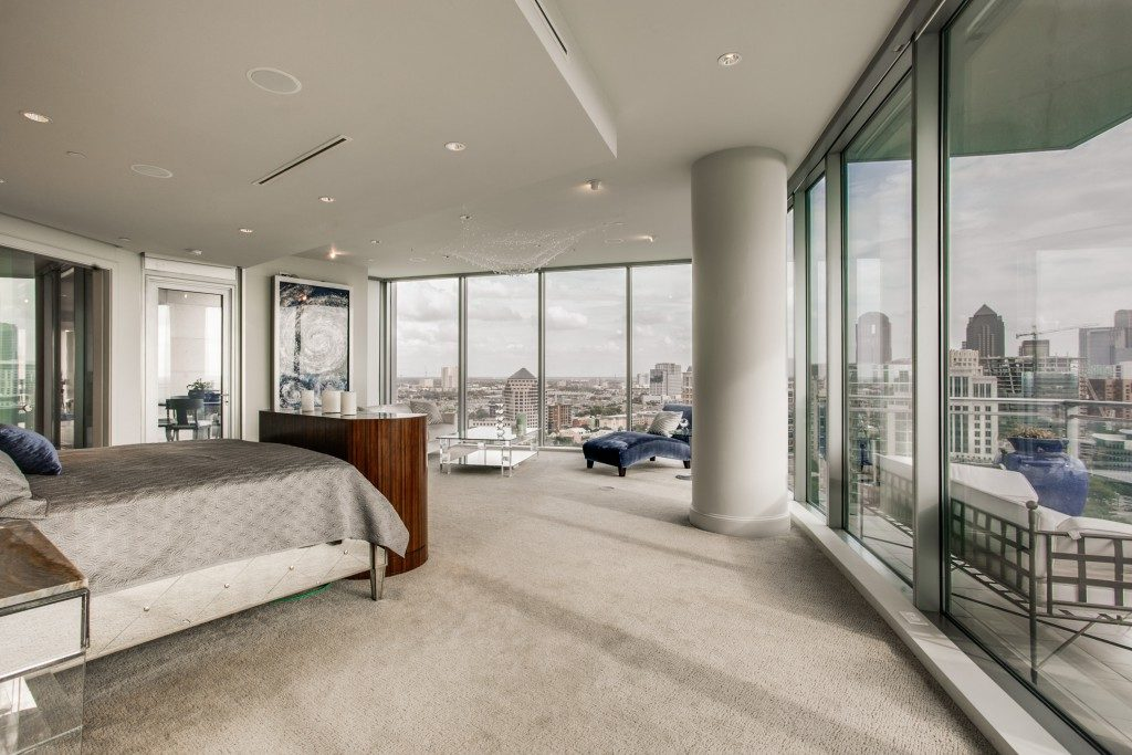 The master bedroom inside Unit 2201, which is actually several units merged inside the Azure, has incredible views.