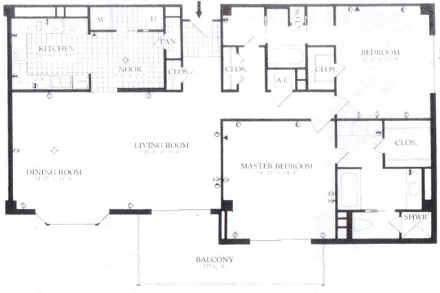 """Beverly """"Thin"""" Unit. (Had the Living/Dining Bumped Down to Align with Master Bedroom, it'd be """"Thick"""")"""