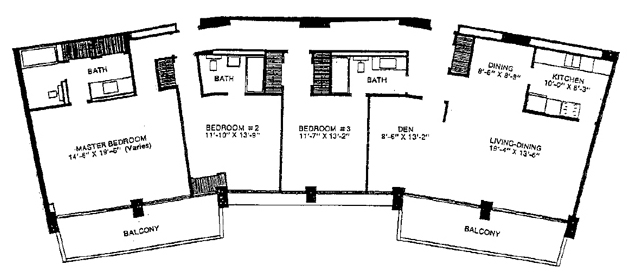 "Preston Tower 3-Bedroom Shows a ""Thin"" Layout With Back Hallway"