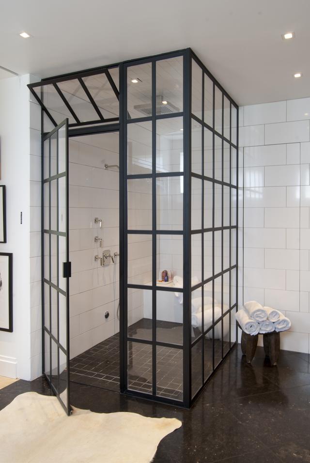 2 Black Steel and Glass Door
