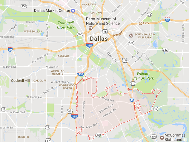 According to ABODO, Dallas' 75216 Zip code is a hotspot for flippers. (Map: Google Maps)