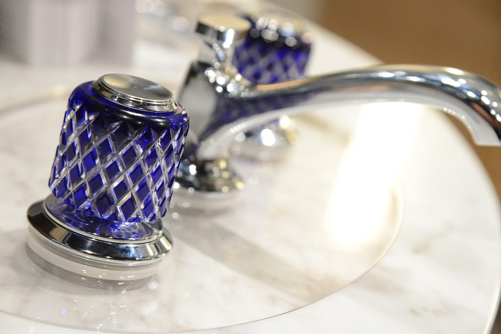 Saint-Louis crystal handles adorn this Kallista faucet Photo: Lisa Stewart Photography