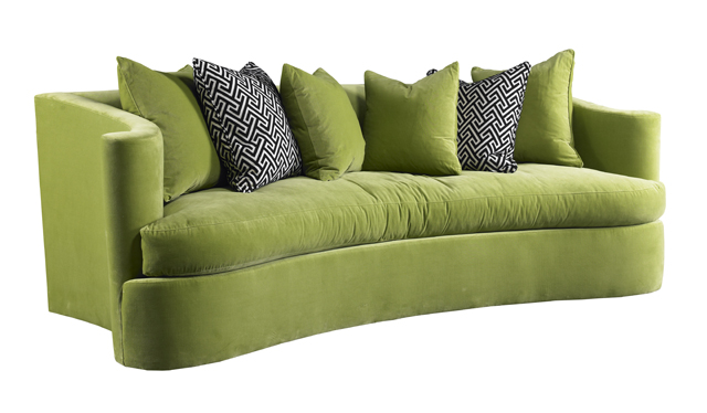 This curvy sofa from IBB Design is a perfect example of how Greenery can pop in a room.